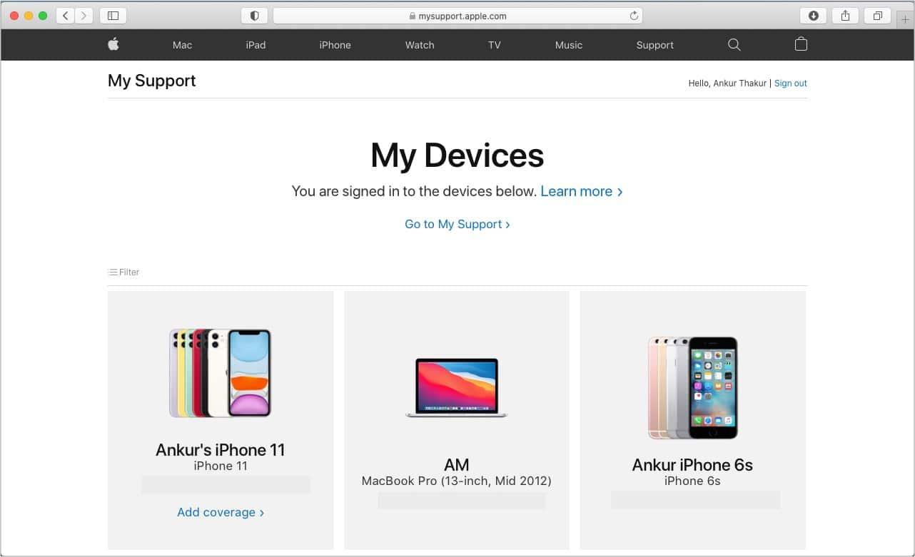 Проверьте гарантию, используя свой Apple ID