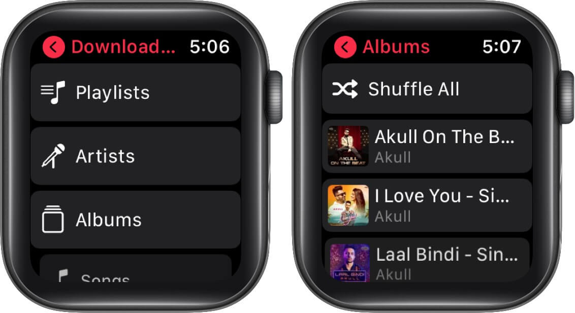 choose albums and swipe left the album on apple watch