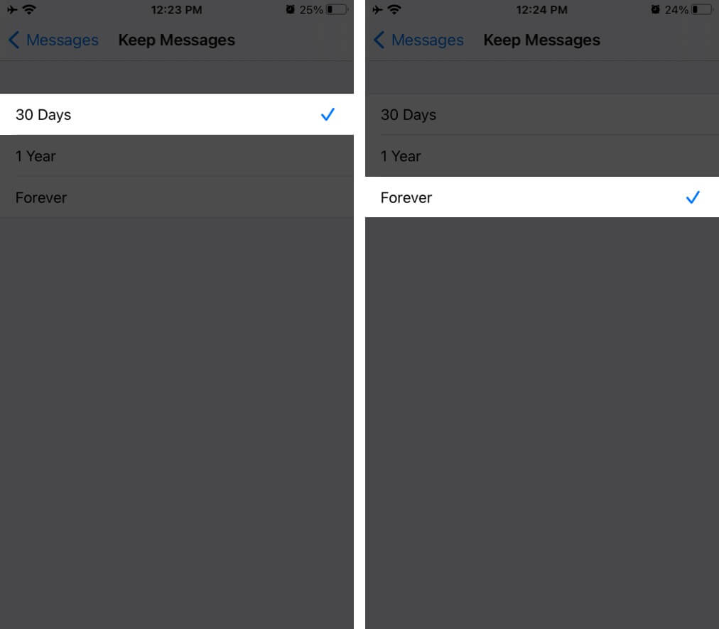 Choose Forever to Disable Auto-Delete Old Messages on iPhone