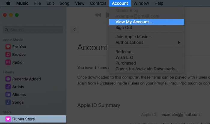 Choose iTunes Store in Music App Select on Account from Top Menubar and Then Click on View My Account on Mac