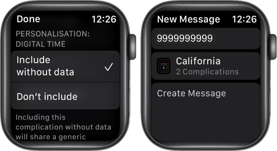 choose option and tap on done then tap on create message on apple watch
