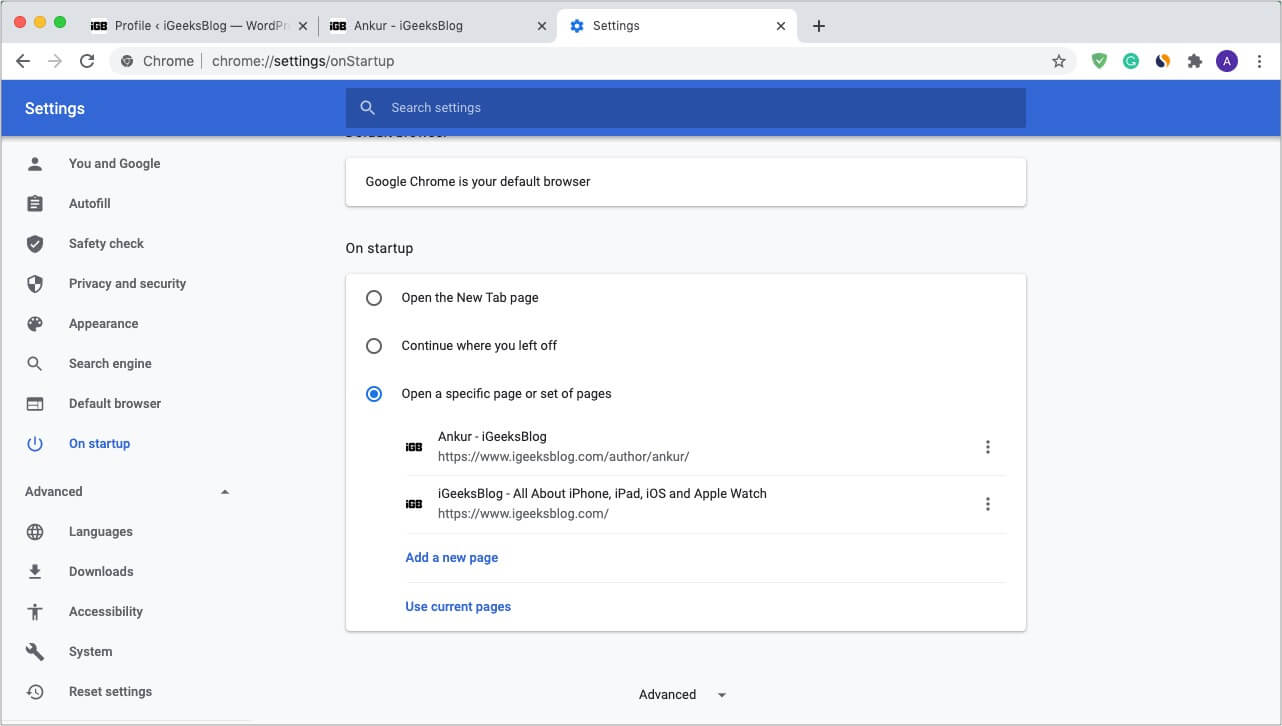 Choose what to open when you startup Chrome on your Mac