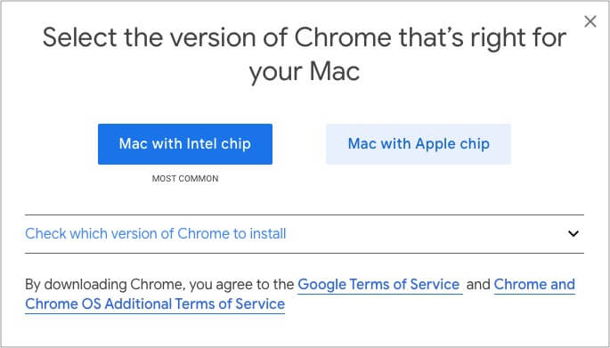 Chrome Offers Intel and Apple Silicon Versions for Download