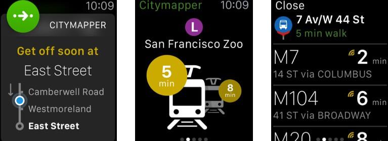 CityMapper Apple Watch App Screenshot
