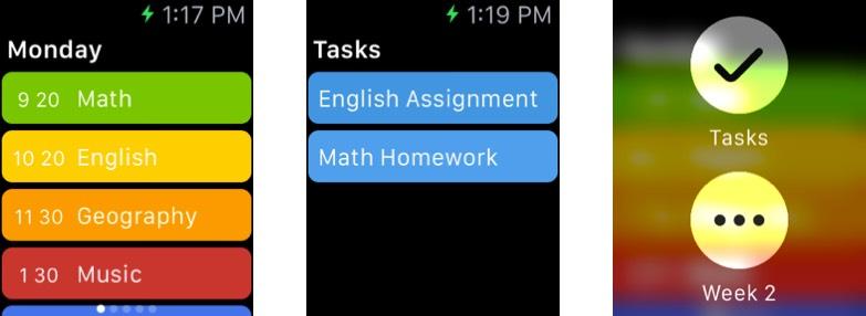 Class Timetable Apple Watch App Screenshot