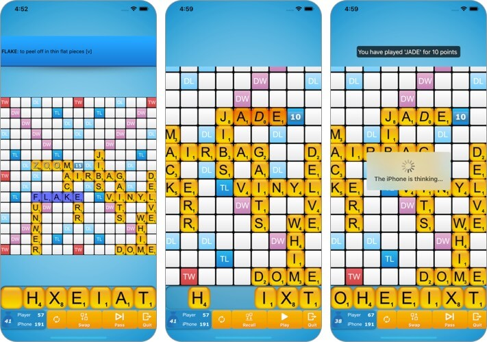 classic words iphone and ipad scrabble app screenshot