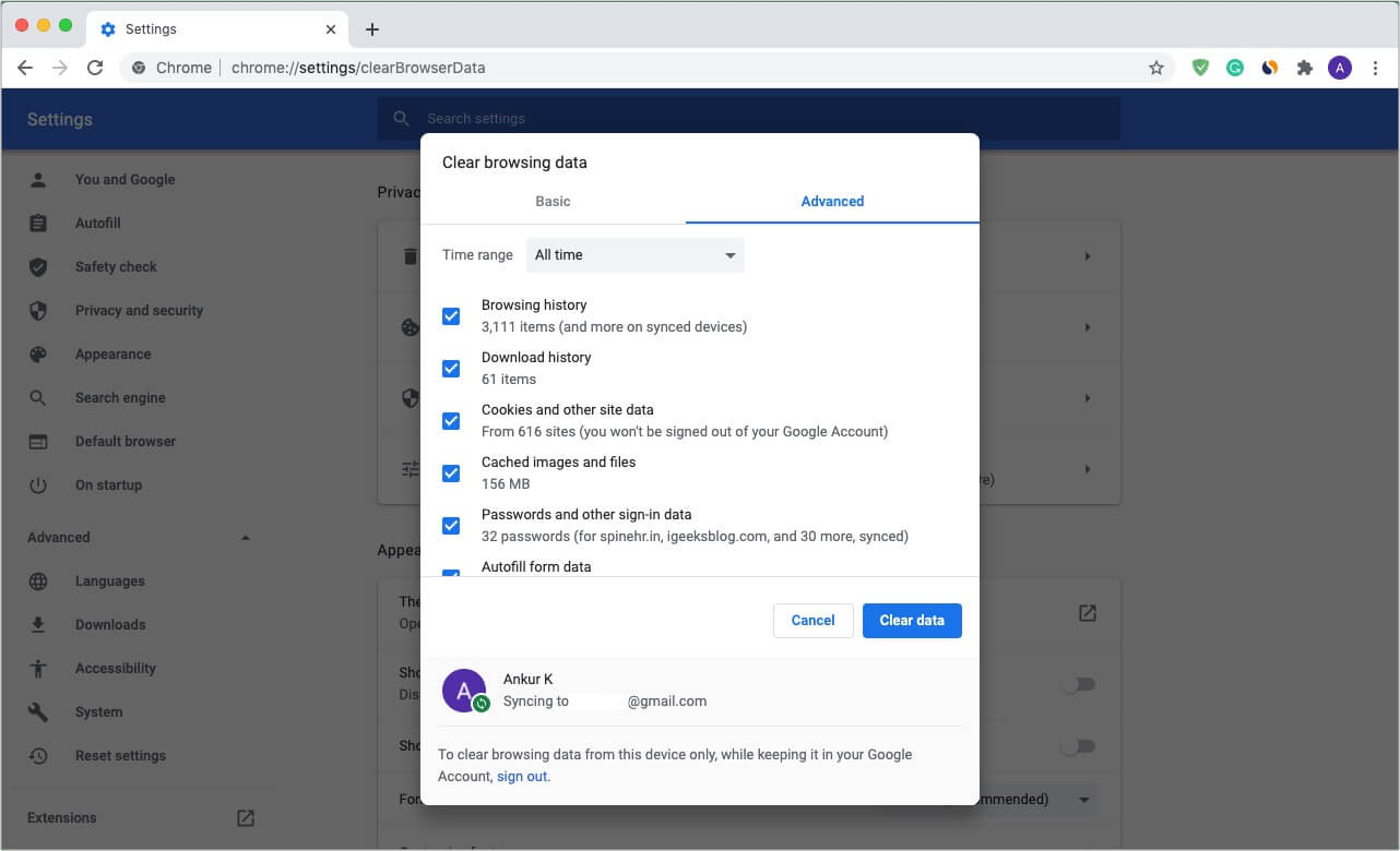Clear all Chrome browsing data