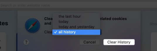 clear all safari history on mac