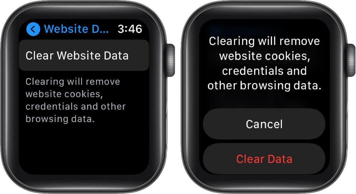clear website data on apple watch
