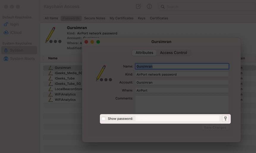 Click Checkbox to Enable Show Password in Mac Keychain Access