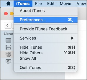 Click iTunes from menu bar to open its Preferences