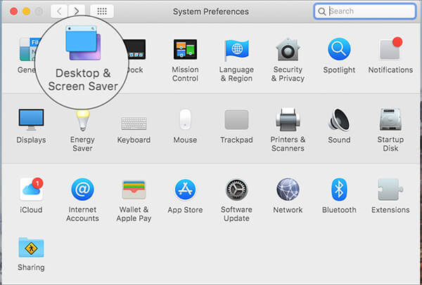 click on Desktop and Screen Savers in Mac System Preferences