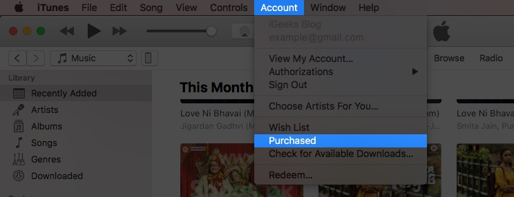 click on account and select purchased in itunes on mac