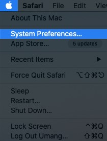 click on apple logo and select system preferences on mac