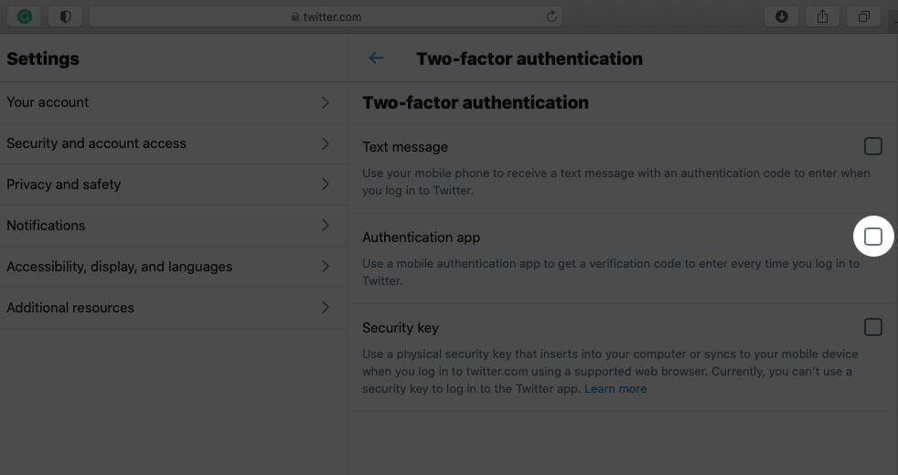 Click on Authentication App Check box in Twitter Profile on Mac