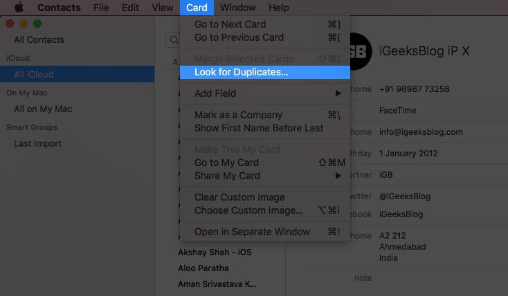 click on card from top menubar and then click on look for duplicates on mac
