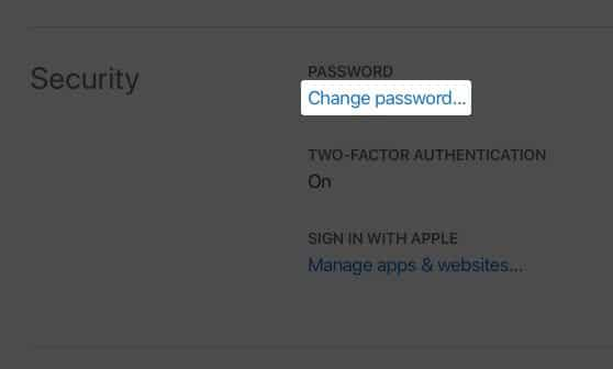 Click on Change Password on Apple ID Website on Mac