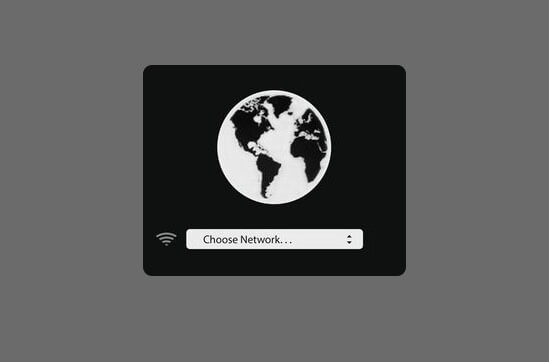 Click on Choose Network to Connect Mac with Wi-Fi in Internet Recovery Mode