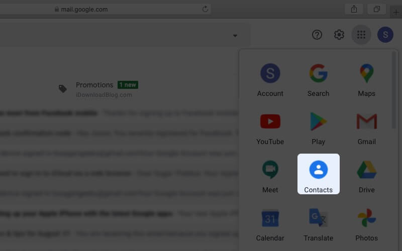 click on contacts in google account on mac