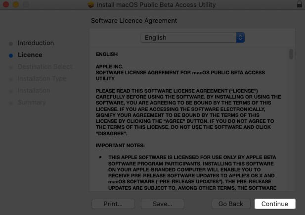 click on continue in software licence agreement window on mac