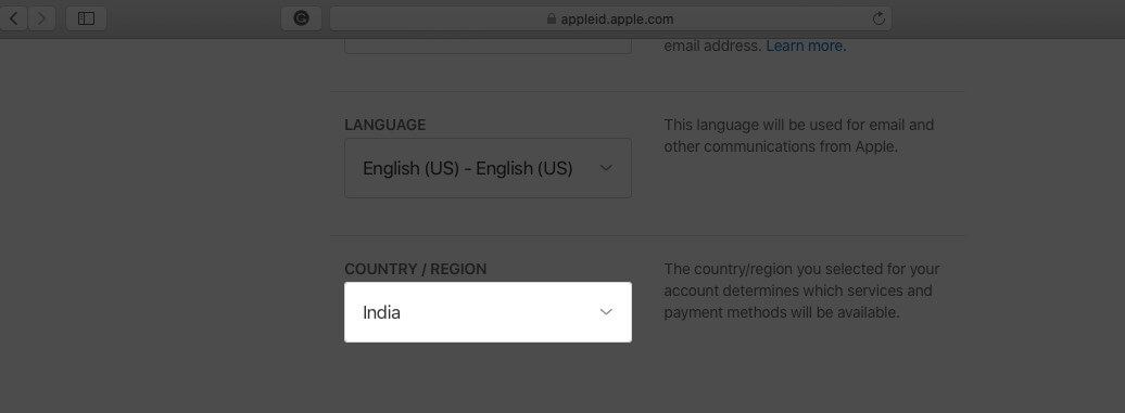 click on country in apple id account on web