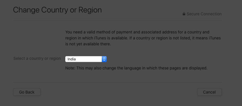 click on country name in apple id on mac