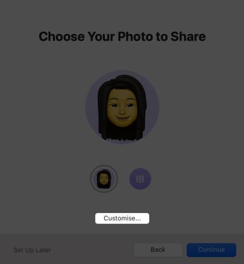 click on customize on mac