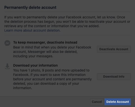 click on delete account in facebook profile on mac