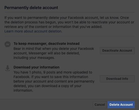 click on delete account in facebook profile on mac