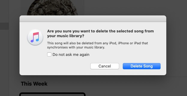 Click on Delete Song to Remove Purchased Music from Music App on Mac