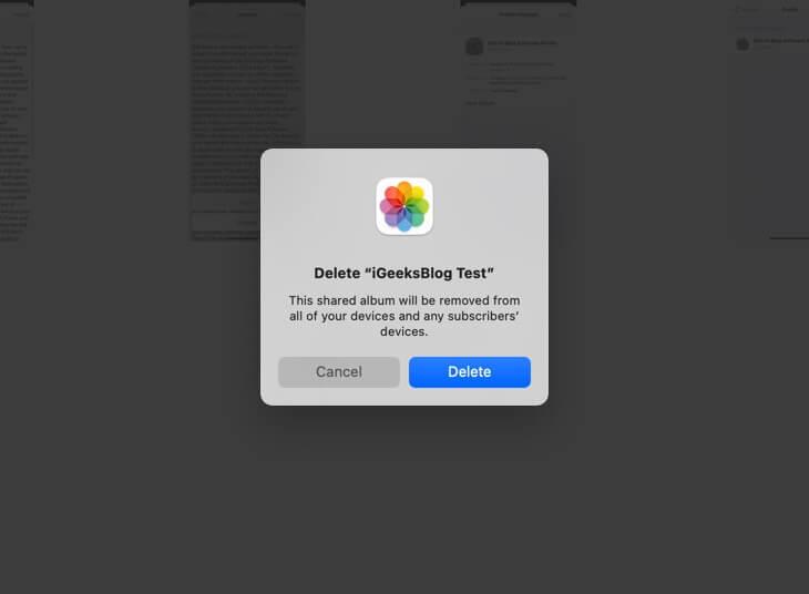 click on delete to remove shared album on mac