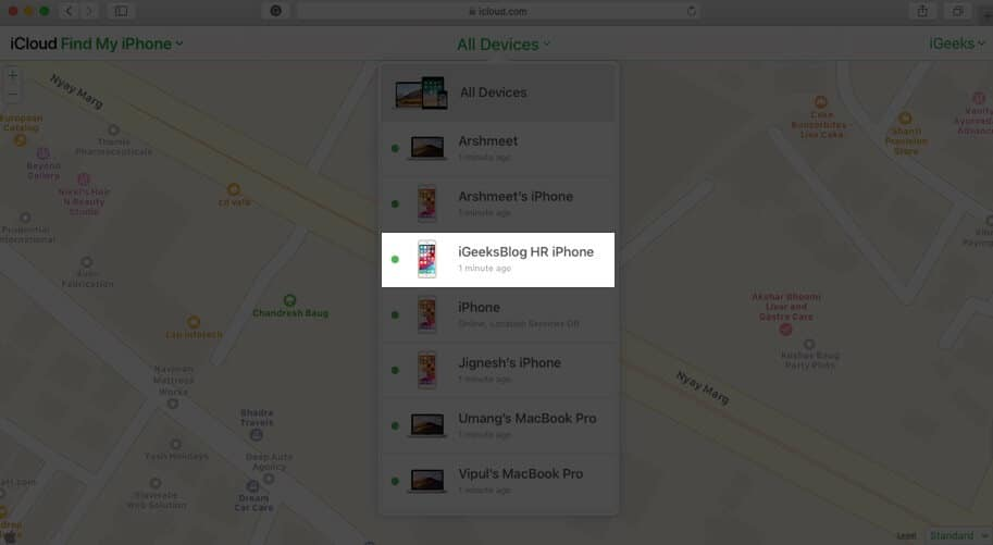 click on device in find my iphone in icloud