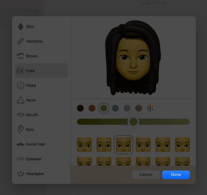 click on done to create memoji in macos big sur