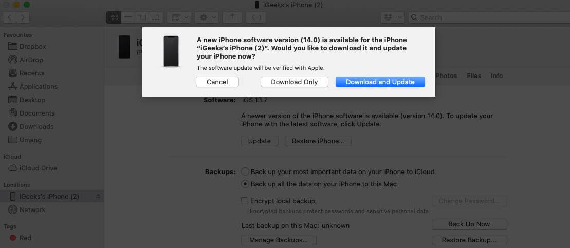 click on download and update to update iphone using mac finder