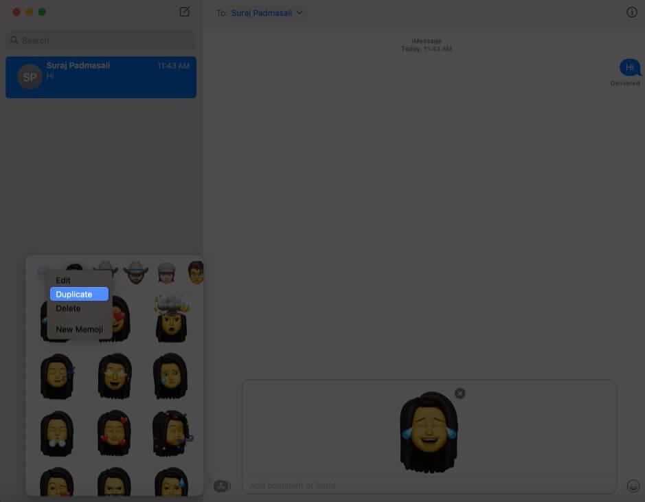 click on duplicate to create duplicate memoji in macos big sur