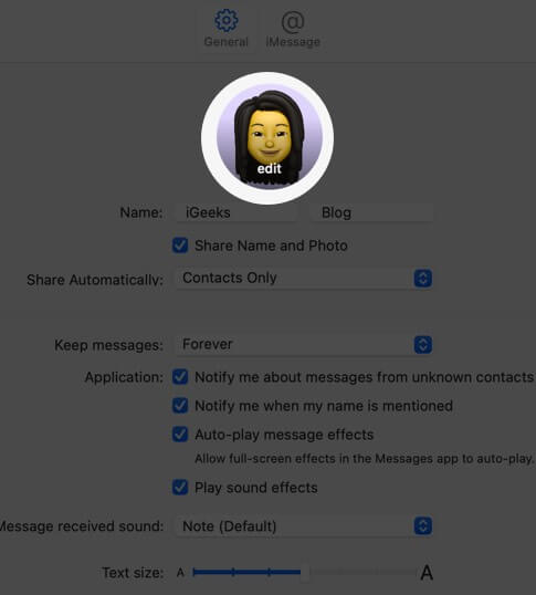 click on edit to change profile picture on mac