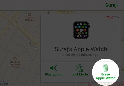 click on erase apple watch in icould account