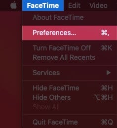Click on FaceTime and Then Select Preferences on Mac