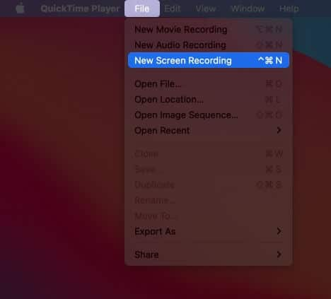 click on file and select new screen recording on mac