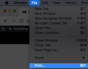 Click on File from Menu Bar and Then Select Print on Mac