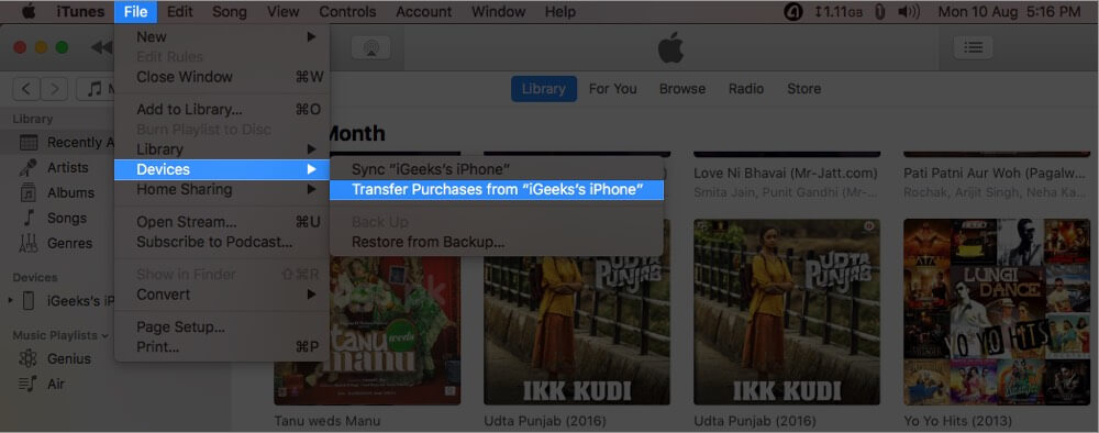 click on file select devices and click on transfer purchases from iphone on mac