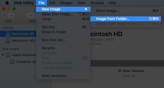 Click on File Select New Image and then Click on Image for Folder on Mac