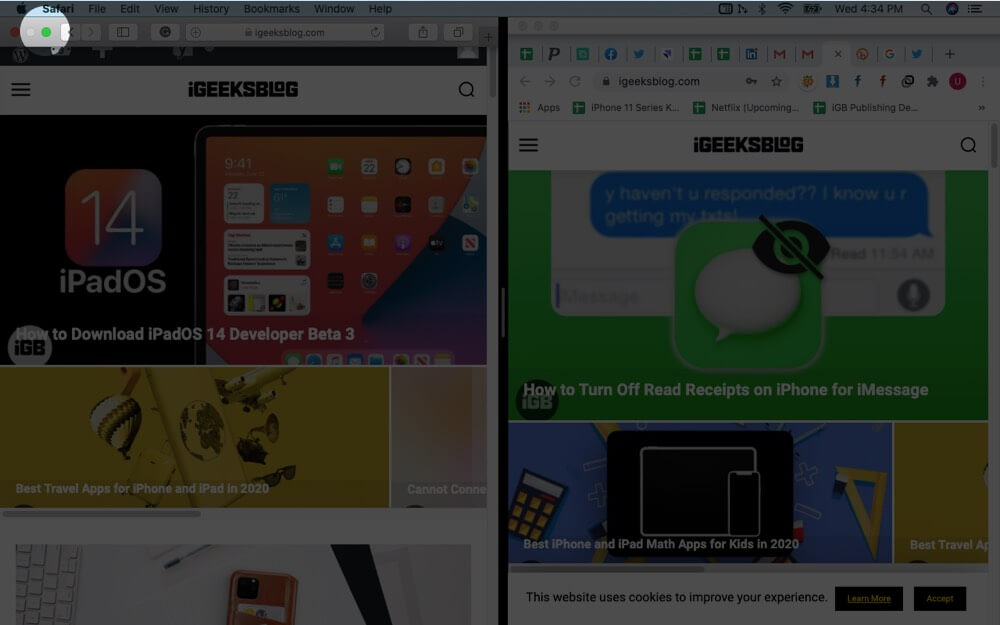 click on green full screen button on mac