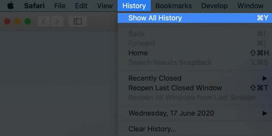 click on history and select show all history in safari on mac