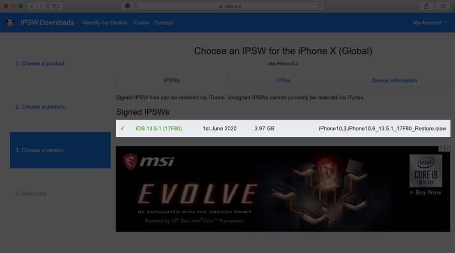 click on ipsw file under signed ipsws on mac