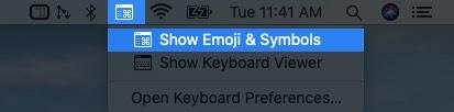 click on keyboard icon from mac menu bar and select show emoji & symbols