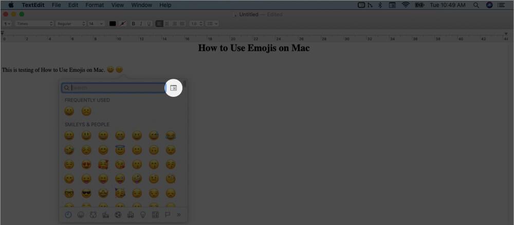 click on keyboard icon in emojis keyboard on mac