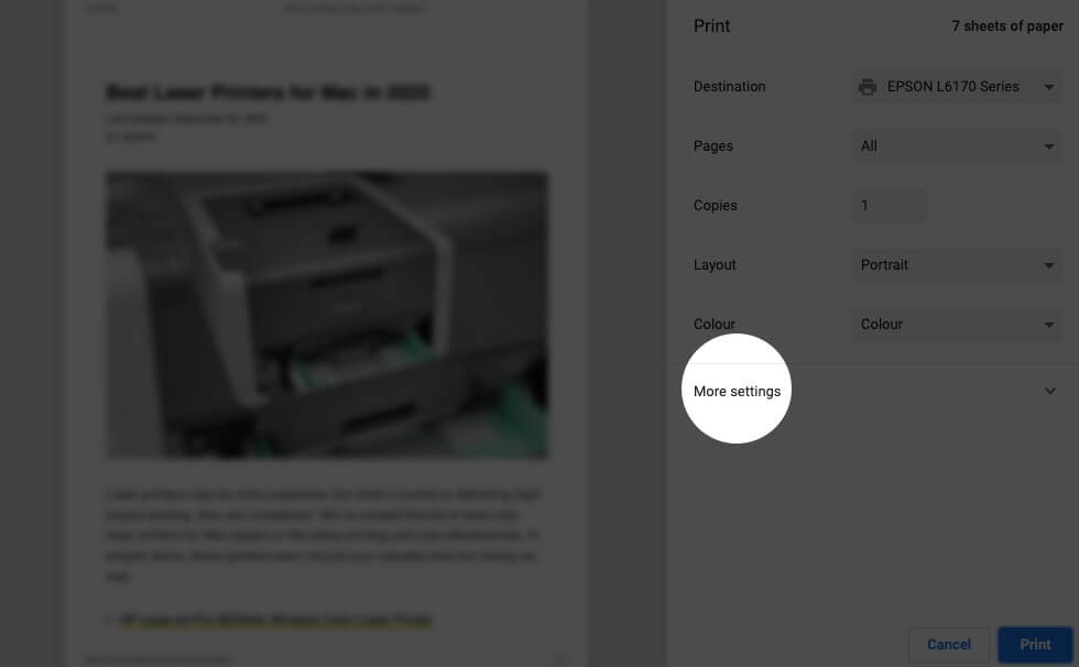 Click on More Settings in Print Window on Mac