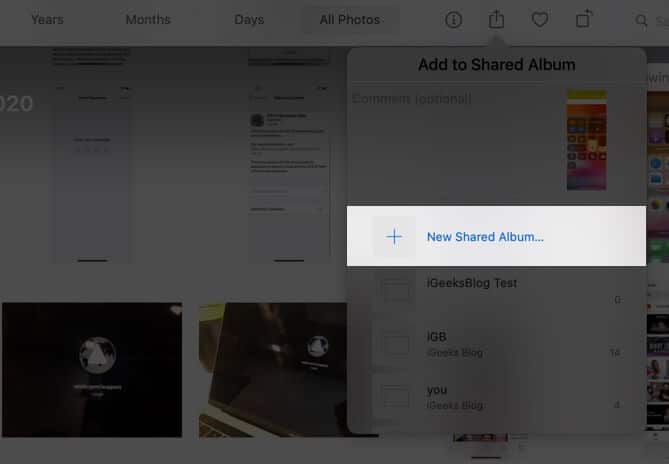 click on new shared album in photos app on mac