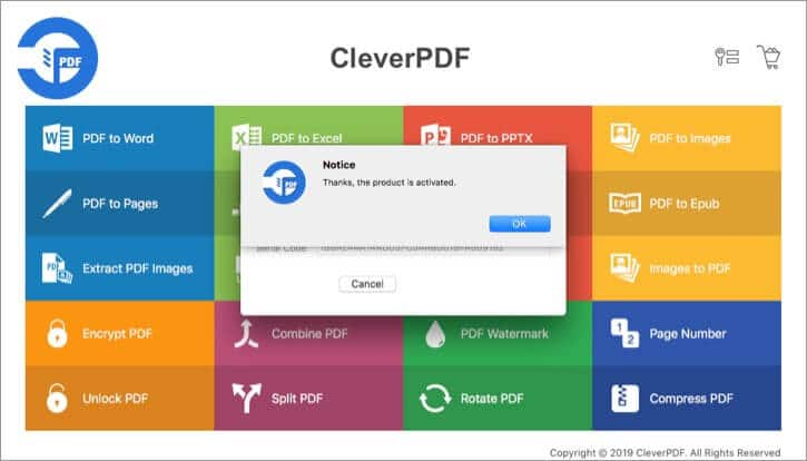 Click OK to Activate CleverPDF on Mac